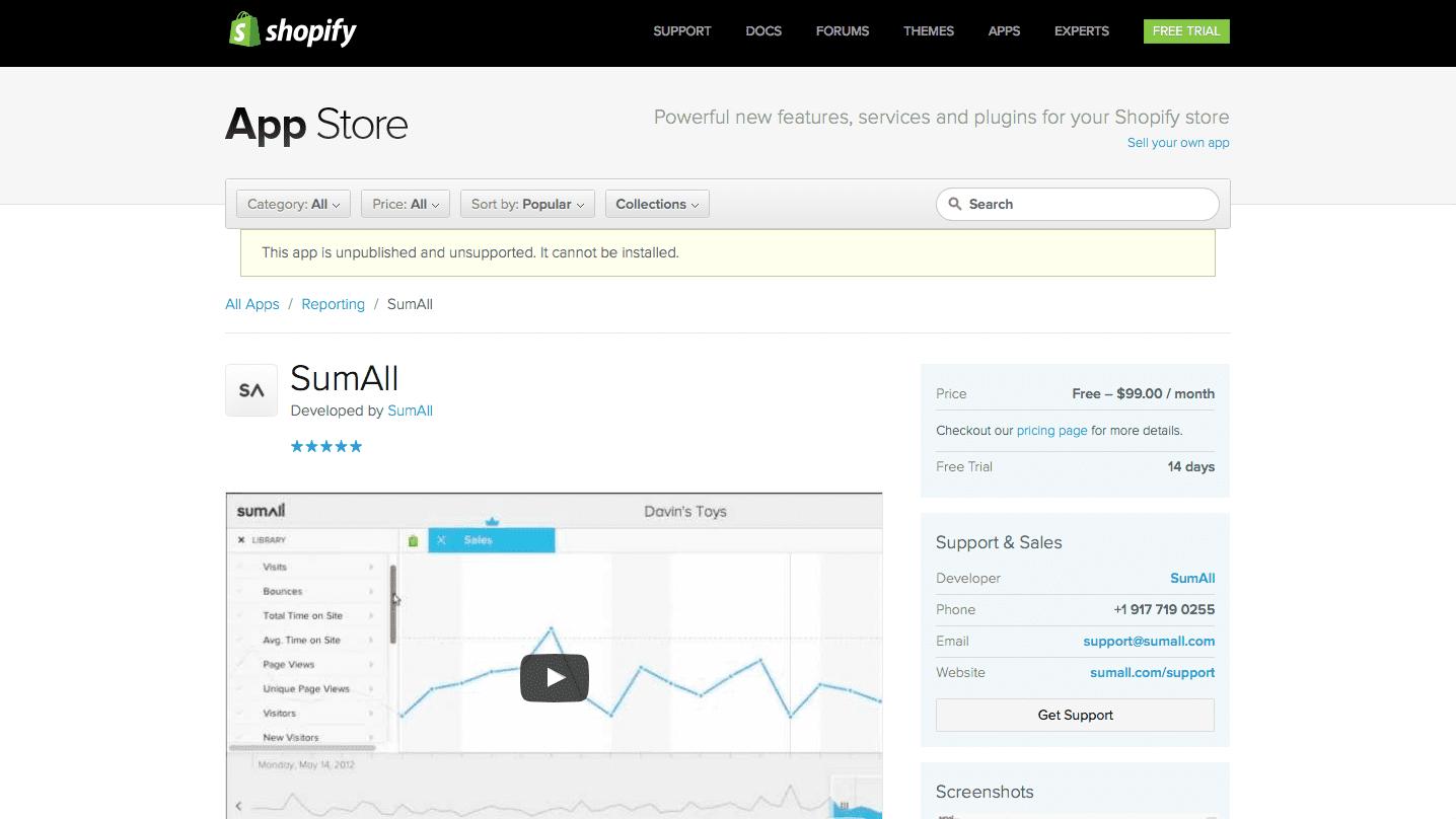 SumAll Shopify App Listing