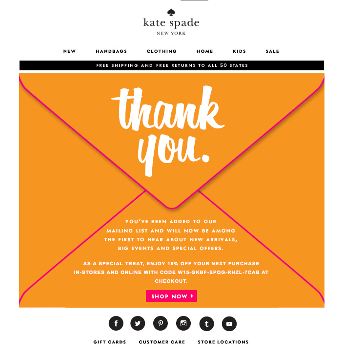 Kate Spade Welcome Email