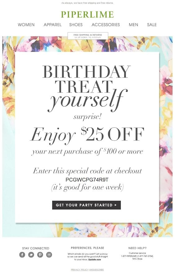 Fashion Email Marketing Birthday Email
