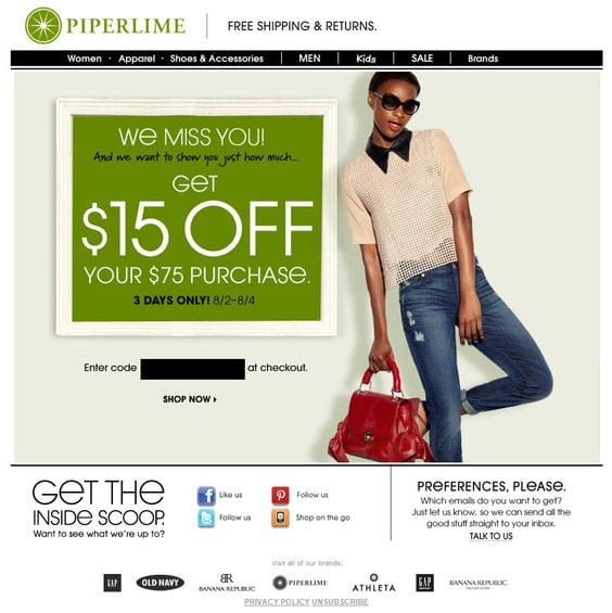 Piperlime Reengagement Email