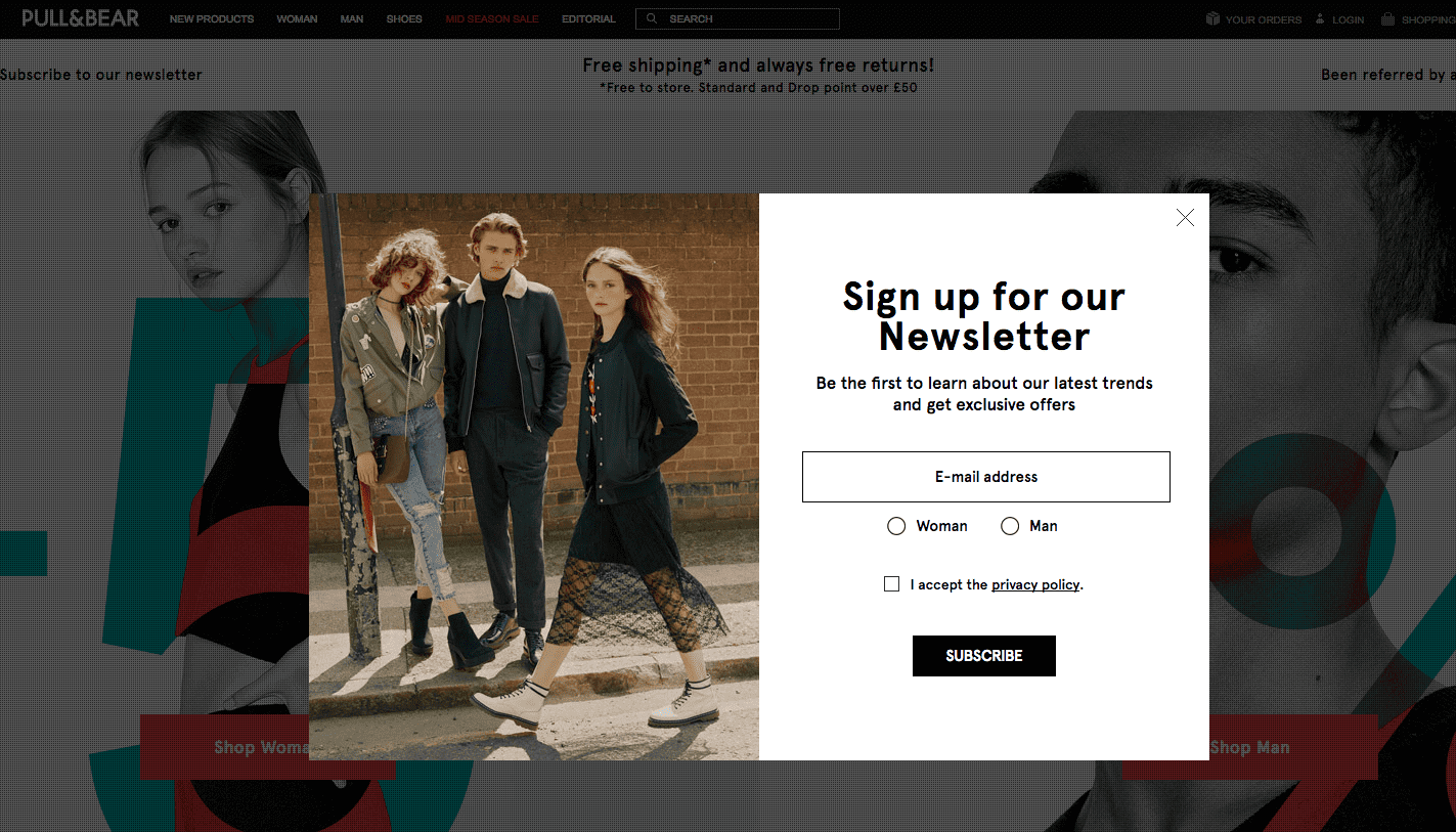 Segmentation Email Collection Popup