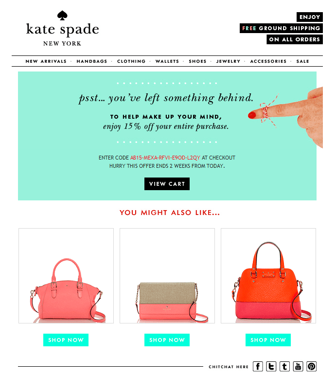 Kate Spade Abandoned Cart Email