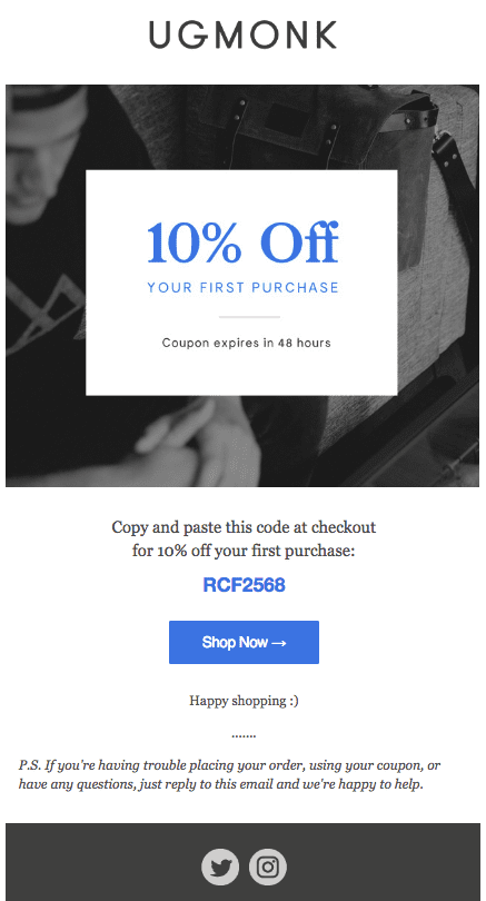 Discount Shopify BigCommerce Welcome Email