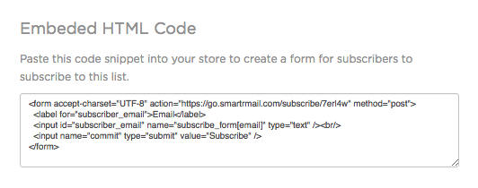 Embed HTML form