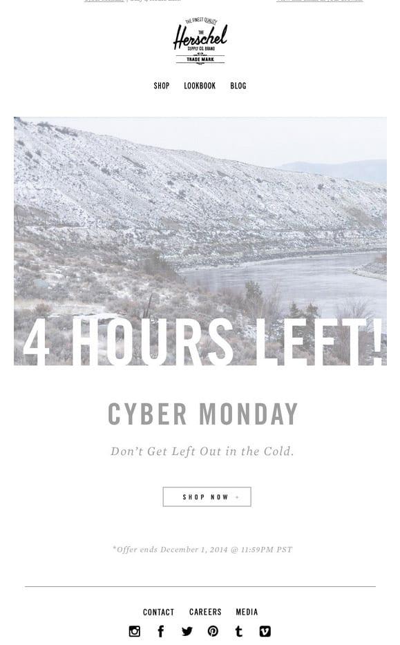 Herschel Cyber Monday Email