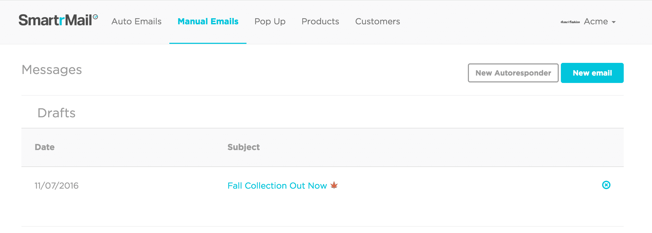 Manual Emails Tab