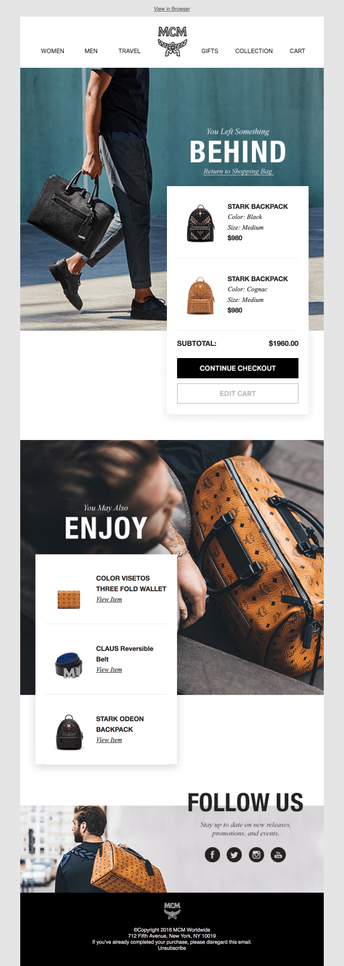 MCM abandoned cart email