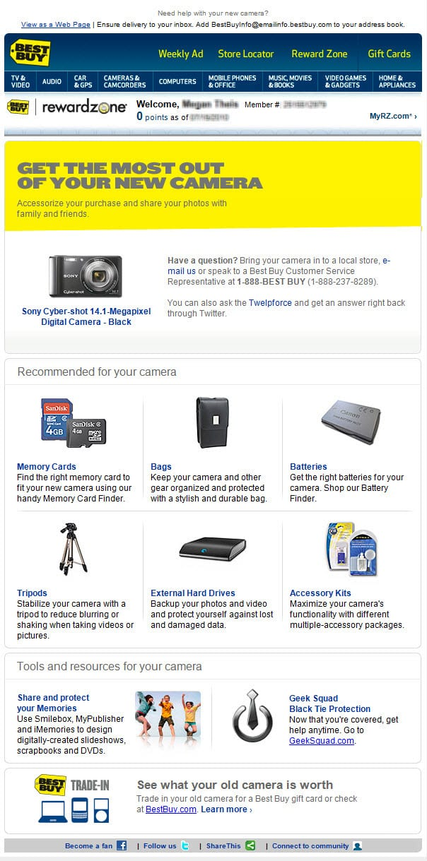 best buy electronics camera cross-sell complementary products recommended product education