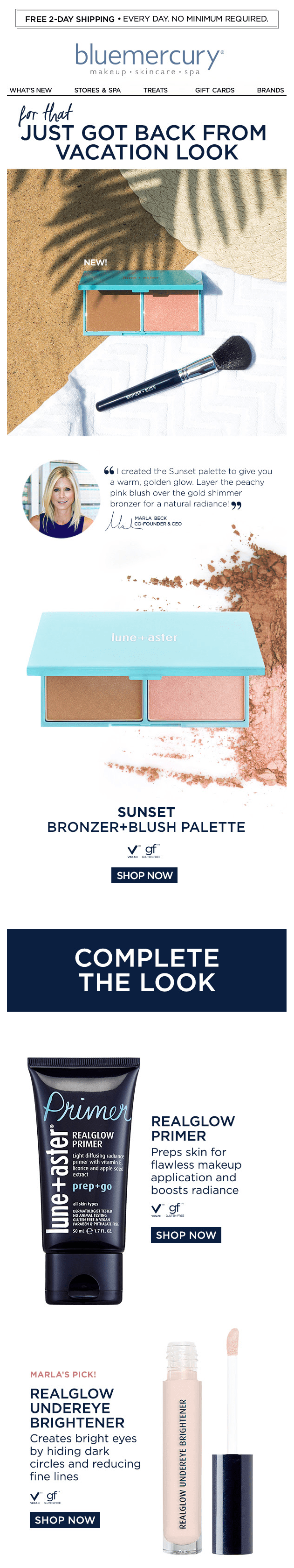 bluemercury cosmetics beauty make-up email newsletter