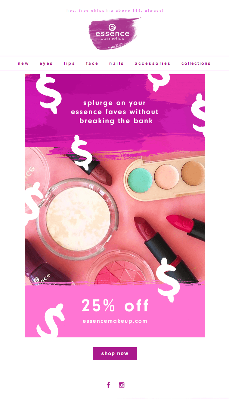 essence makeup beauty email newsletter sale