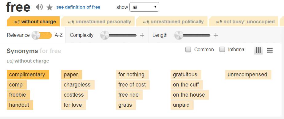 Sales word Alternatives