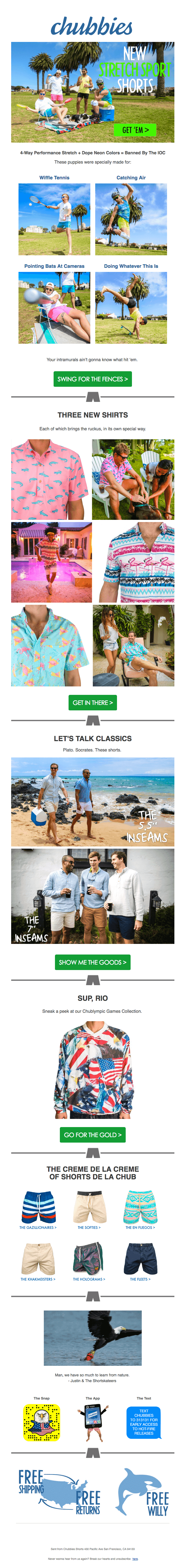 chubbies email example