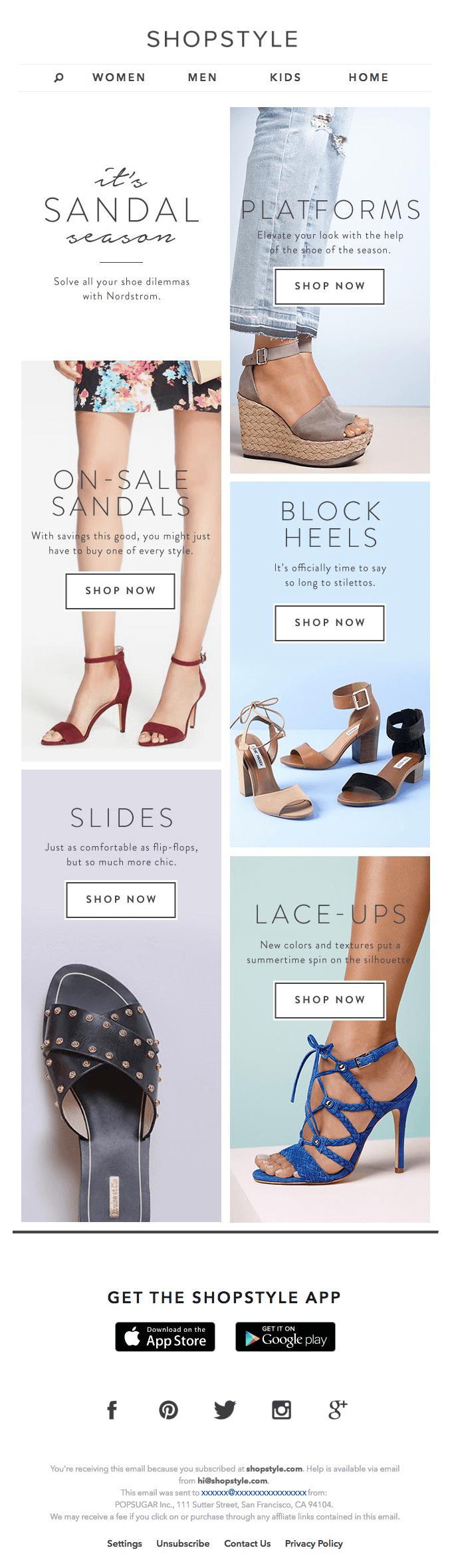 ShopStyle Segmented Emails