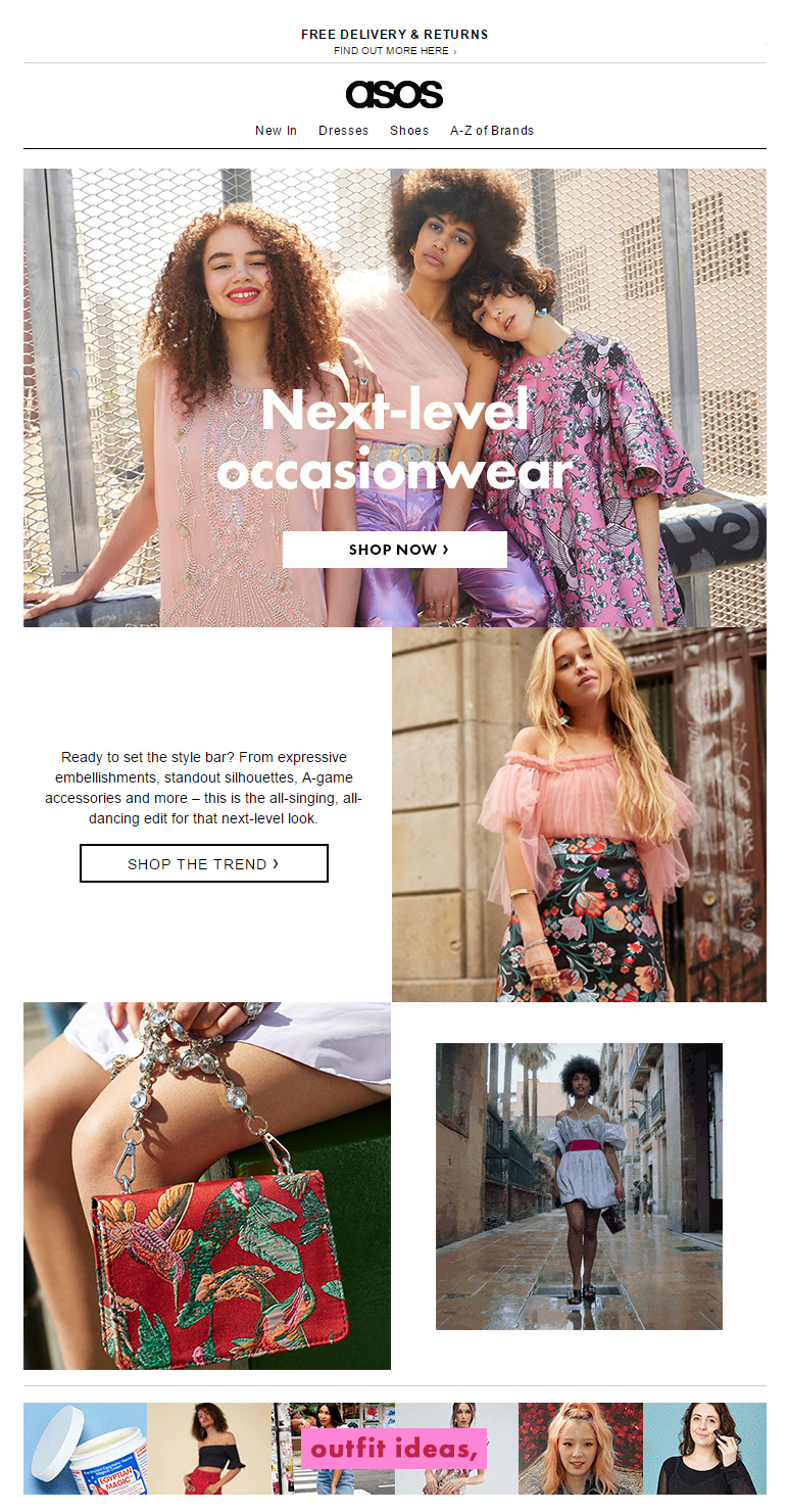 ASOS fashion newsletter women's clothing