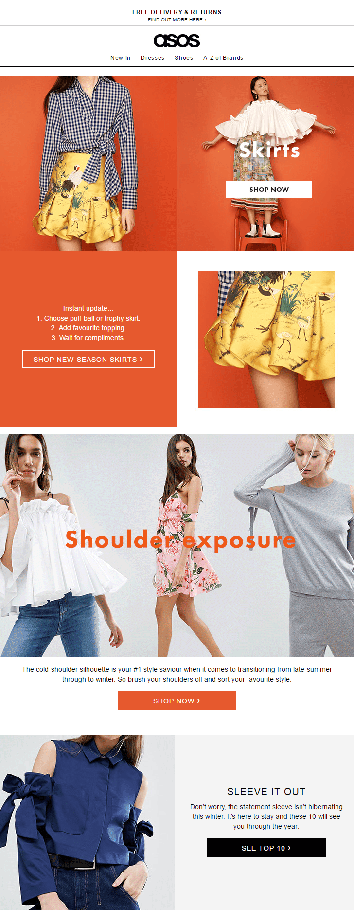 asos fashion new season skirts tops trends email newsletter