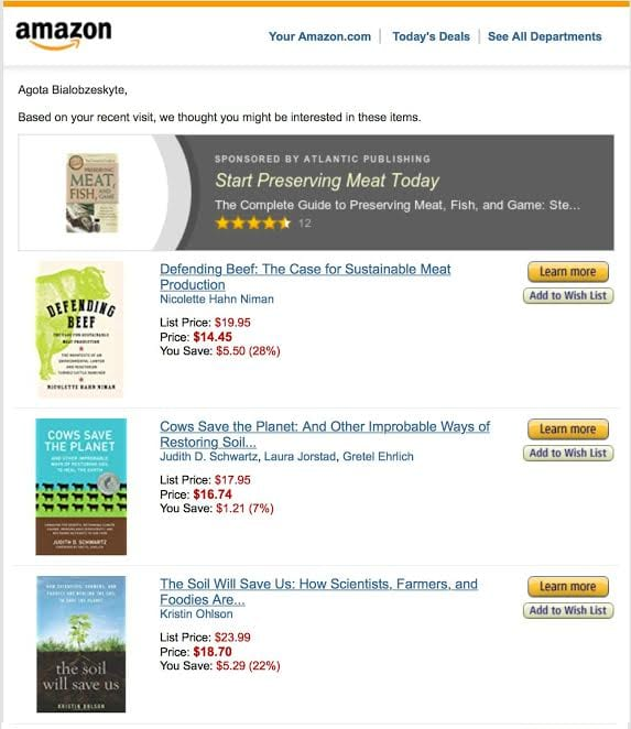 amazon email marketing related items book purchase history recommended products