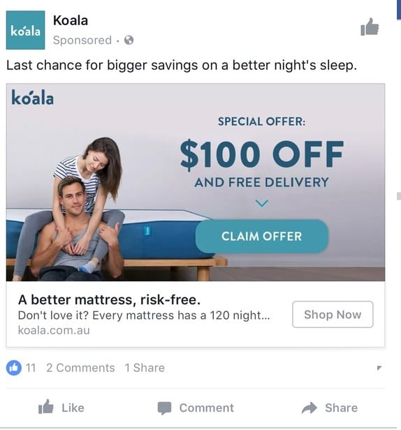 koala facebook ad
