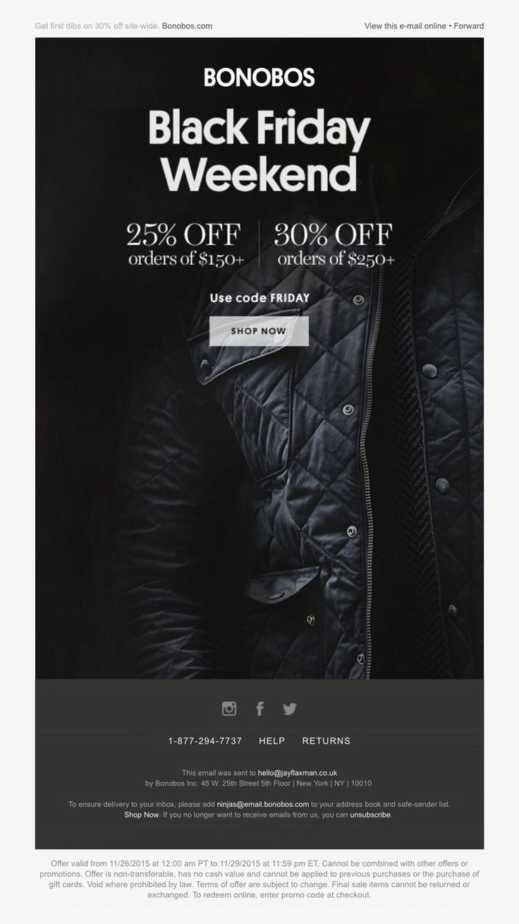 bonobos black friday email newsletter discount fashion conditions offer code