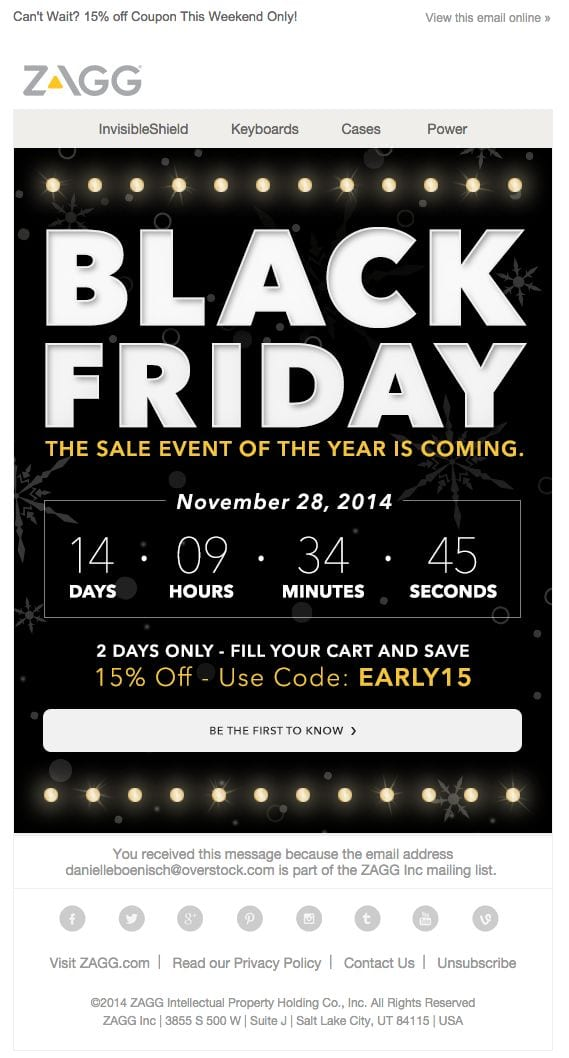zagg black friday sale email marketing newsletter hype countdown
