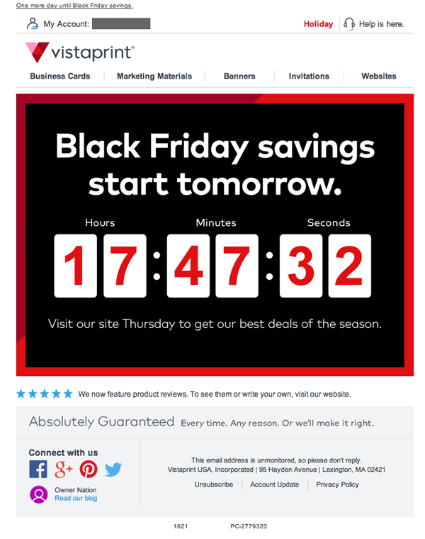 Vistaprint black friday sale email newsletter countdown hype