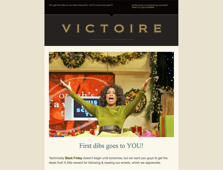 Victoire black friday early access sale high value customer email Oprah