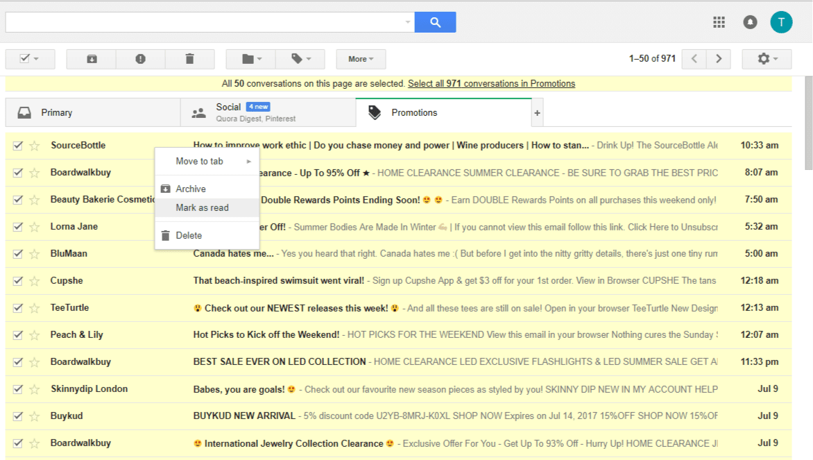 gmail select all mark as read unread emails
