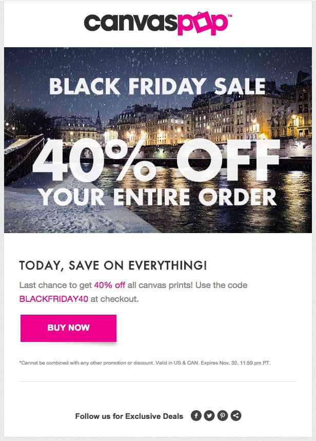 black friday canvas pop email discount offer code