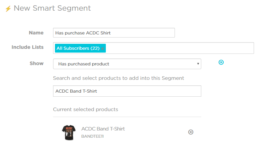 cross sell smartrmail smart segment ACDC band tshirt segmentation rules purchase history