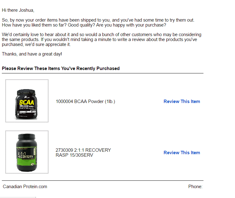 canadian protein review product post-purchase