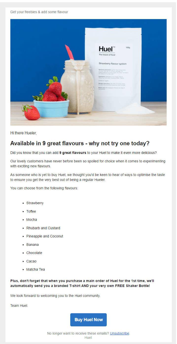huel welcome email campaign follow up product information