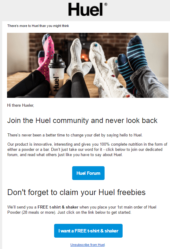 huel welcome email campaign series