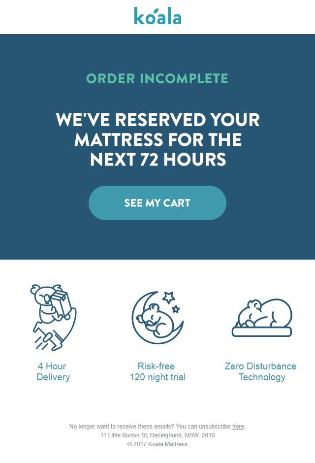 koala mattress abandoned cart email reminder time sensitive