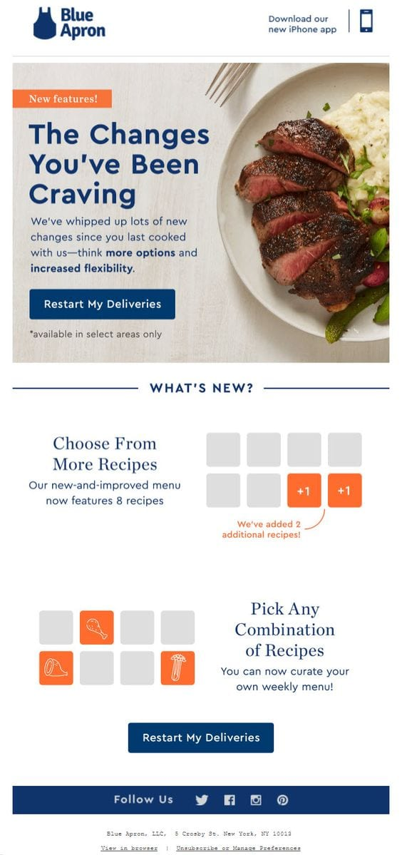 blue apron win back email marketing campaign