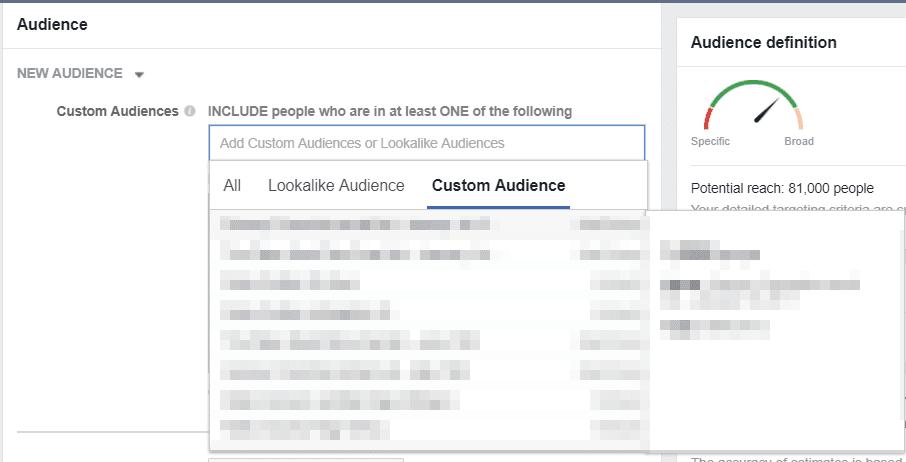 facebook custom audience upload CSV file
