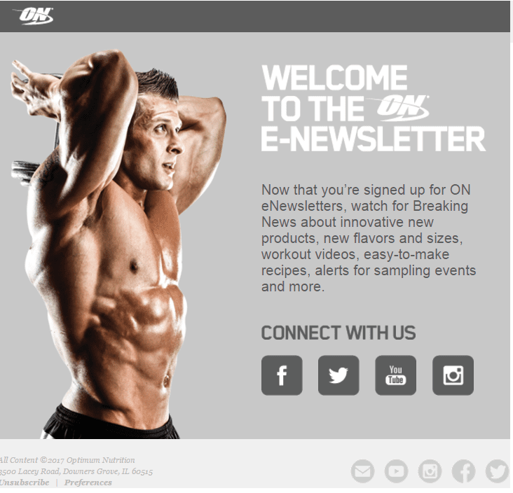 optimum nutrition welcome email social media