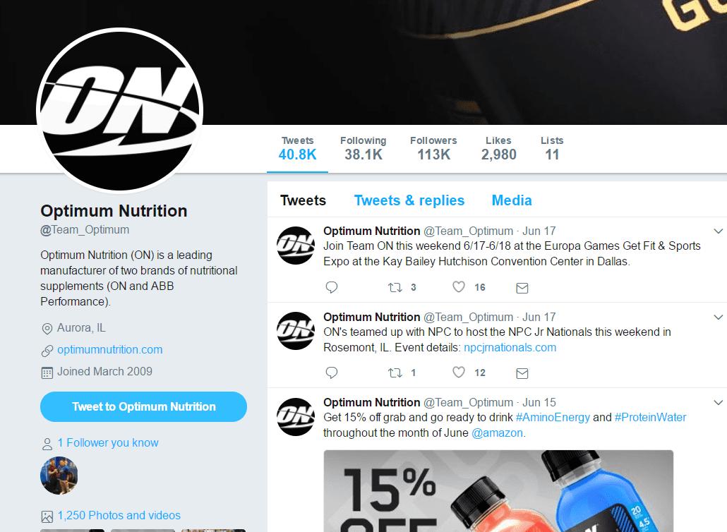 optimum nutrition twitter account inactive