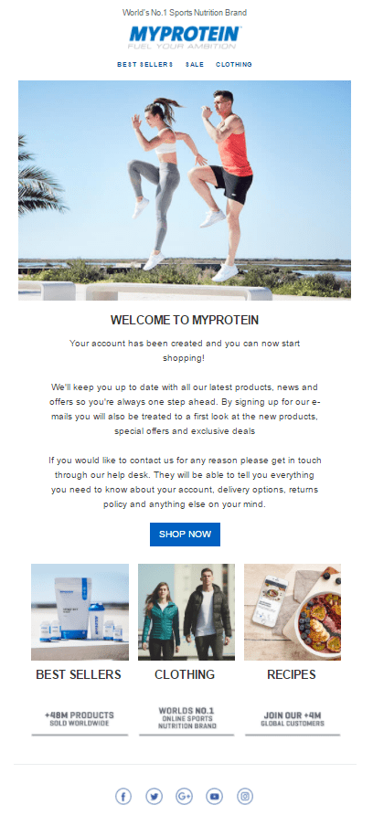 myprotein protein powder welcome email call to action bestsellers clothing recipes