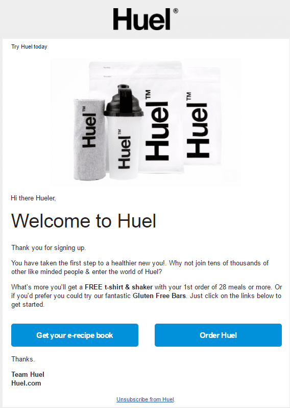 huel welcome email call to action incentive free gift first purchase