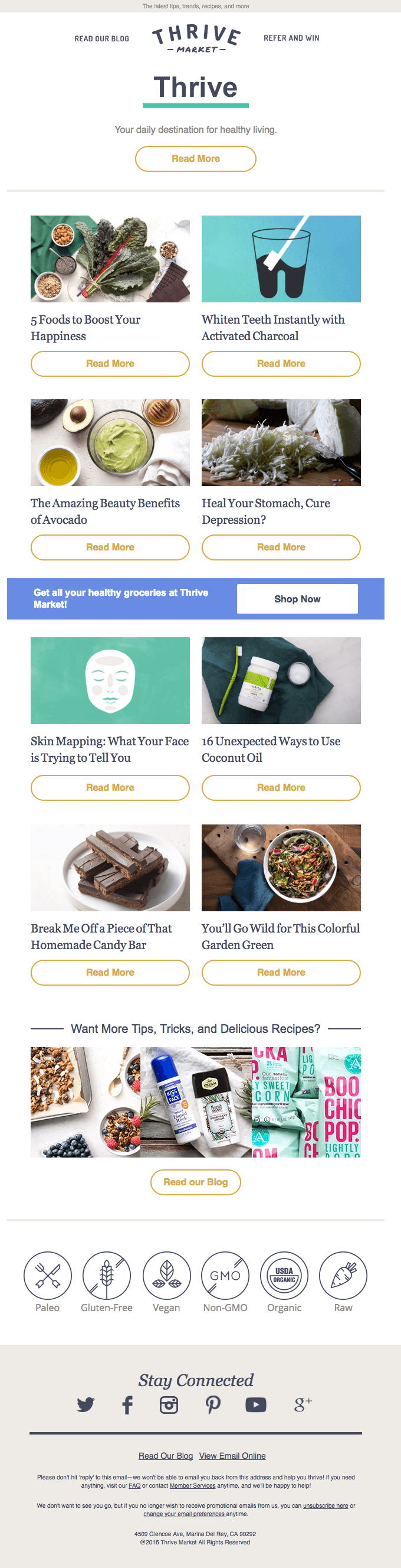 thrive market email newsletter blog posts click bait recipes food articles
