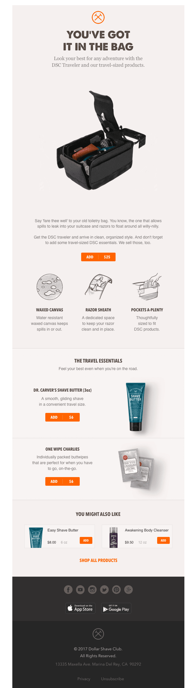 Dollar Shave Club Cross-Sell Email