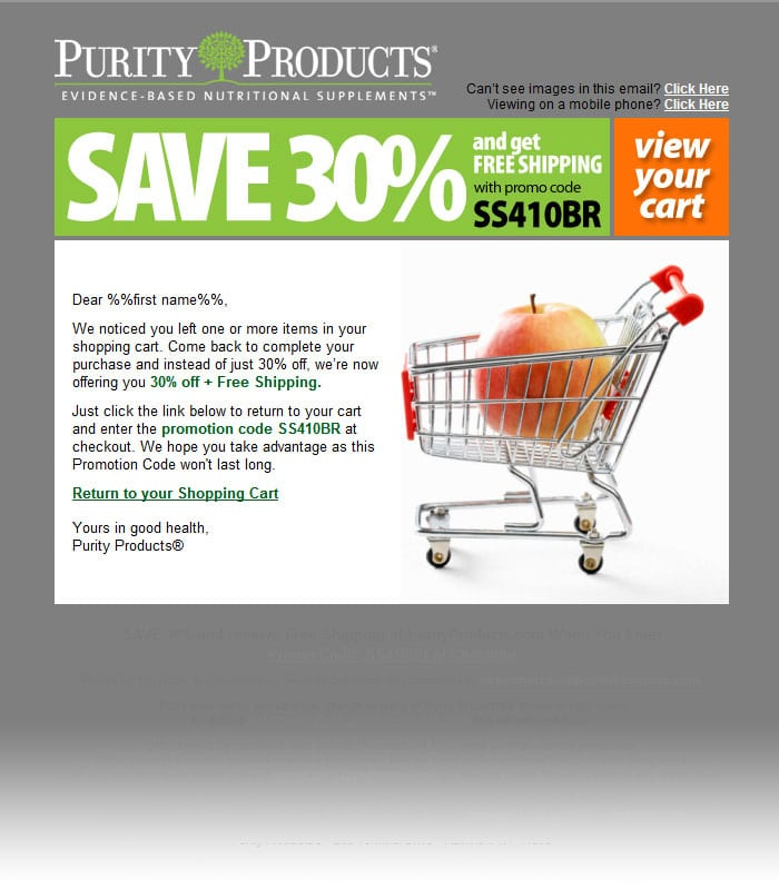 purity products offer code discount free shipping abandoned cart email