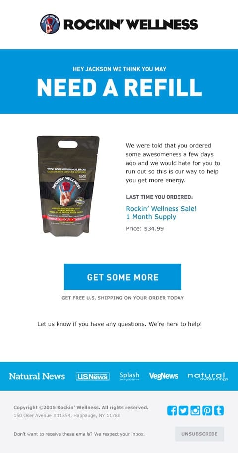 rockin wellness refill email reminder