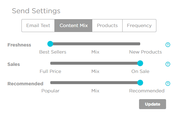 content mix settings product recommended popular new best sellers