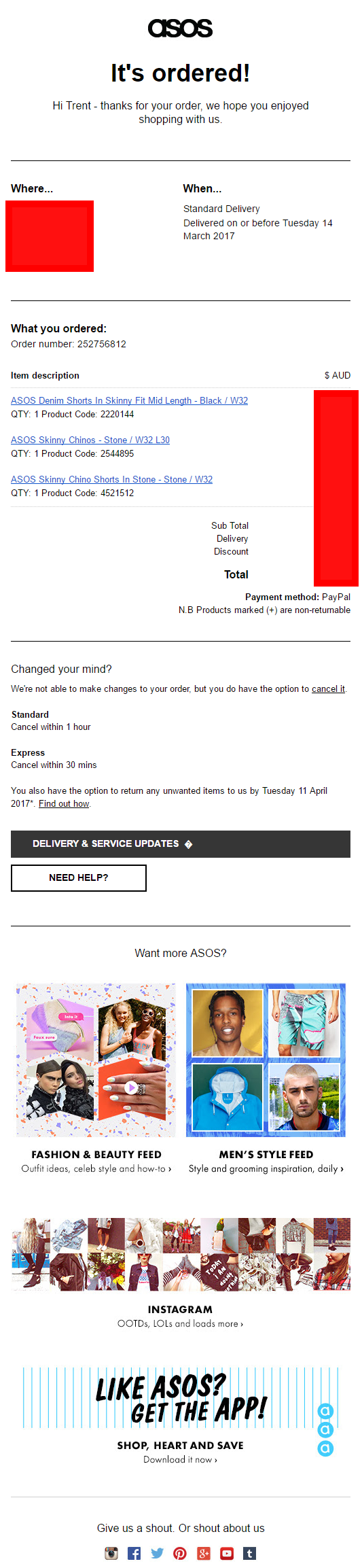asos fashion order confirmation email post-purchase