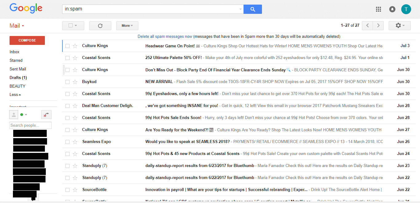 gmail spam folder promotional emails ISP