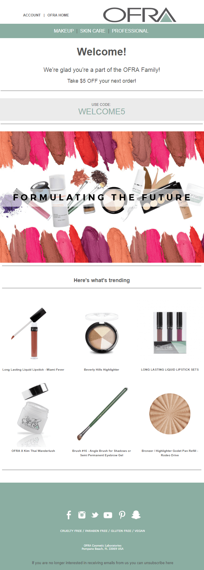 Ofra welcome email campaign make up offer code product recommendations