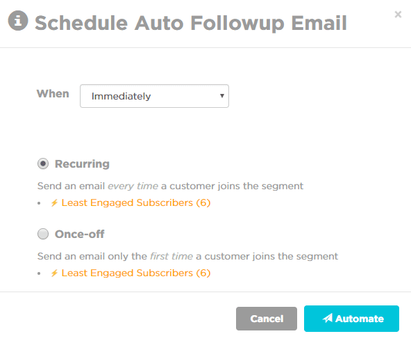 win-back email campaign schedule auto follow up email schedule automation