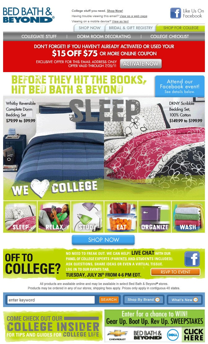 bed bath & beyond back to college marketing email furnishing bedding sale deal