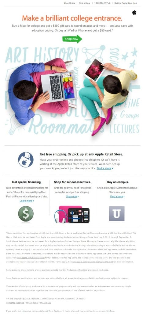 back to college apple email call to action deal gift card education pricing discount