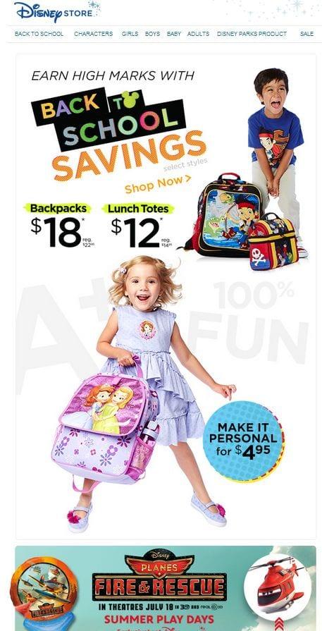 disney store back to school savings kids children parents targeting marketing email